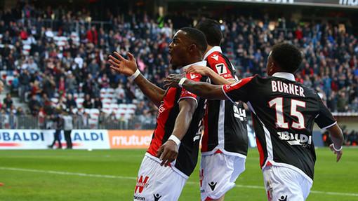 La gioia di Cyprien dopo la rete segnata al Saint Etienne (foto tratta dal sito dell'OGC Nice)