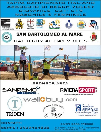 Beach Volley. Le finali del Campionato Italiano Under 19 in scena a San Bartolomeo al Mare