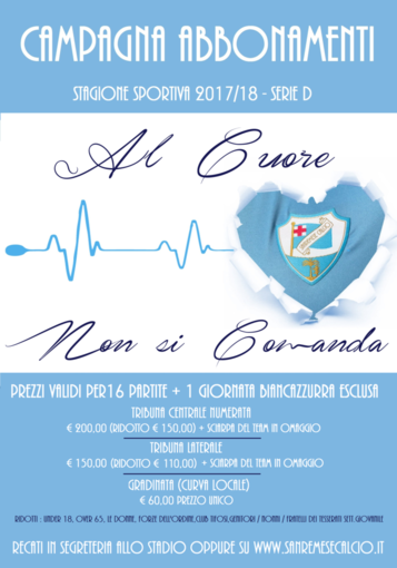 Calcio, Serie D. Sanremese, al via la campagna abbonamenti: tutti i prezzi