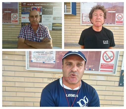 Il Ventimiglia riparte: in senso orario nelle foto il Presidente Vincenzo Savarino, il vice Presidente Rocco Ricevuto e mister Fabio Luccisano