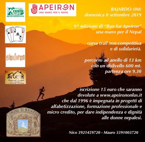 Bajardo: domenica prossima la 9a edizione di 'Run for Apeiron', corsa amatoriale per beneficenza