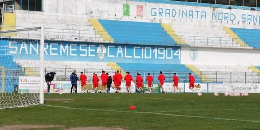 La Sanremese in allenamento al Comunale (foto Sanremese Calcio)