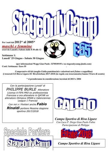 Calcio giovanile. Scatta a Riva Ligure lo Stage Only Camp: parteciperanno Philippe Burle e Fabio Rinaldi