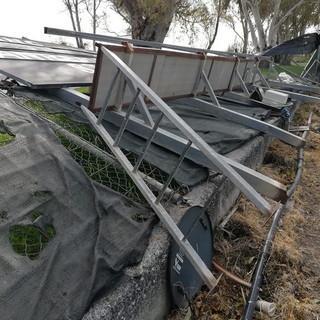 Sanremo: il vento fa crollare anche il segnapunti del campo da baseball a Pian di Poma (Foto)
