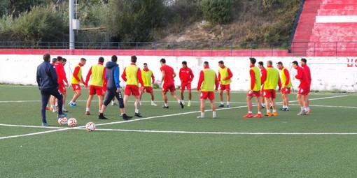 La Sanremese in allenamento a Santo Stefano al Mare (foto Sanremese Calcio)
