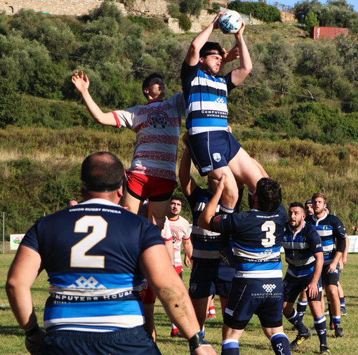 Una fase del match del campionato di Serie C1 tra Union Riviera e Savona Rugby